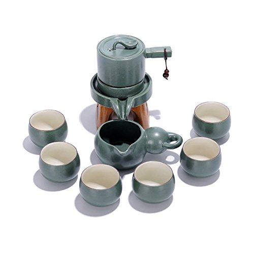 Fathers Day Gift IDMD Chinese Automatic Handmade Ceramic Hot Tea Set Kungfu With Imitation Stone Design Gongfu Porcelain Tea Set of 10