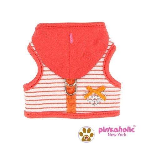 "ka Bright Orange Hooded Rhinestone Heart Harness Vest With Pin-Dog Sizes S-L (Large- Chest 14""-16"", Neck 12.5"", Tangerine Orange) ()"