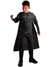 Rubies Man of Steel Deluxe Black Suit Muscle Chest Child's Superman Costume, Small