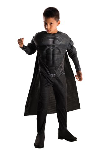 Rubies Man of Steel Deluxe Black Suit Muscle Chest Child's Superman Costume, Small (Mens Black Spiderman Costume)