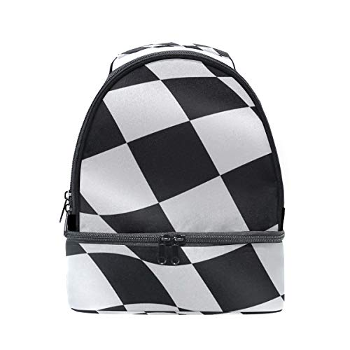Shoulder Double Lunch Bag Black White Checkered Flag Cooler Adjustable Strap for Picnic ()