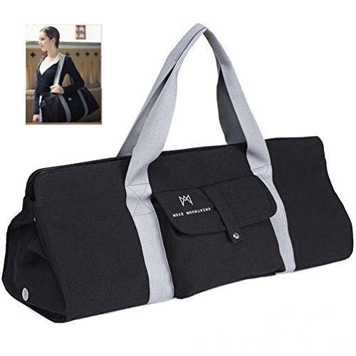 Move Mountains Simply Black Yoga Mat Bag. Fits Most Large Yoga Mats. Pro Yoga Mat Carrier Mat Holder