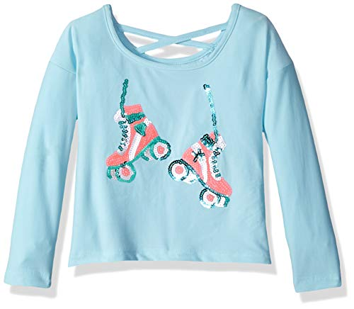 Colette Lilly Girls' Little Long Sleeve Sequin Tee, ice Blue Skates, - Skate Girl Clothing
