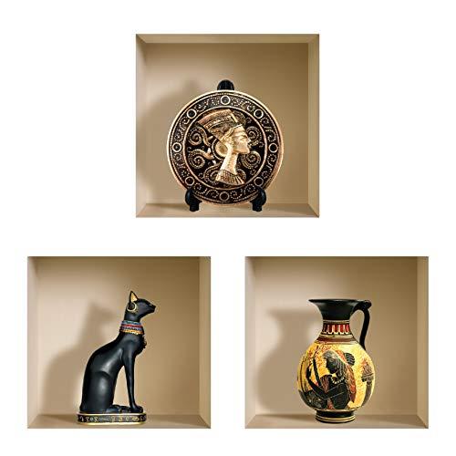 The Nisha Art Magic 3D Vinyl Removable Wall Sticker DIY, Set of 3, Black Egyptian -