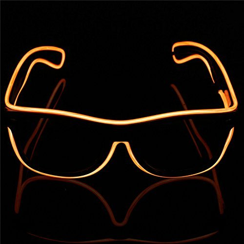 Agile-Shop FashionableGlow Eye Glasses with Voice Control Light Up El Wire Led Flashing Glasses for Halloween Christmas Birthday Party Favor (Yellow)