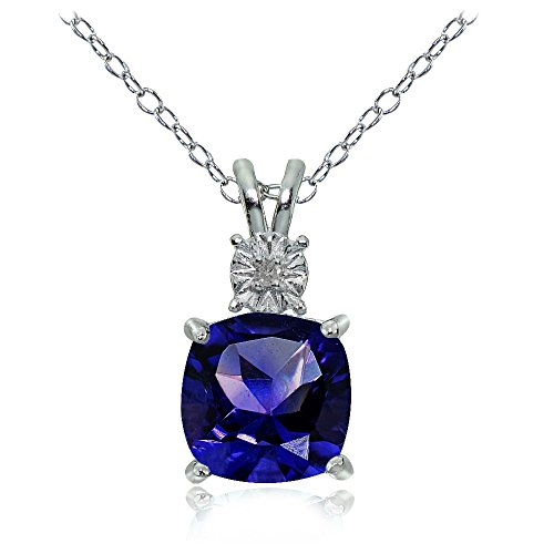 Ice Gems Sterling Silver Created Blue Sapphire Cushion-Cut Drop Necklace