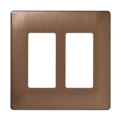 Two Gang Decorator Screwless Wall Plate in Brushed bronze