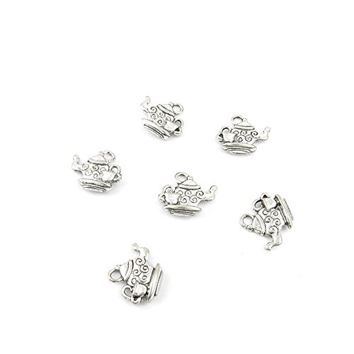 40 Pieces Jewelry Making Charms LMKB05 Teapot Pendant Ancient Silver Findings Craft Supplies Bulk Lots