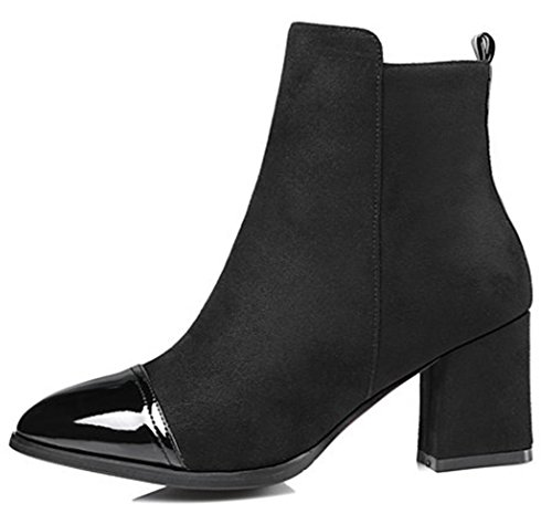 Chunky boots Elegant Side Mid Suede Ankle Zipper Black IDIFU Short Faux Womens Heel xPgII4
