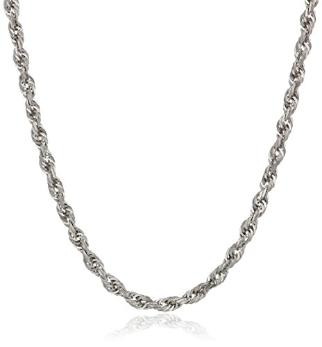 Men's 14k White Gold Solid Diamond-Cut Rope Chain Necklace (2.5mm), 20