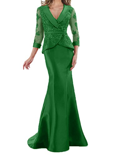 Lang Meerjungfrau Spitze Damen Brautmutterkleider Grün Promkleider Figurbetont Charmant Elegant Partykleider 8wHqvvS