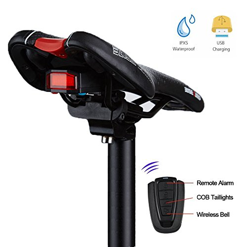 Bike Tail light Rechargeable, Anti-Theft Alarm, Warning Electric Horn, Bike Finder with Remote, G Keni Electric Mountain Bike Accessories