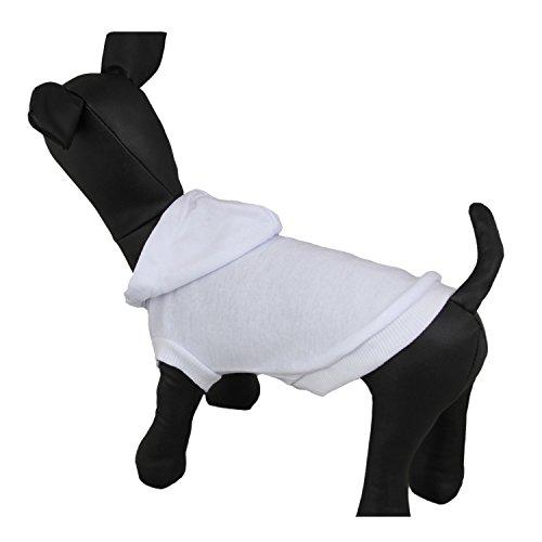 - DennyBella Fashion Puppy Clothes Blank Dog Hoodie T-Shirt Basic Pet Sweatshirt, White (L)