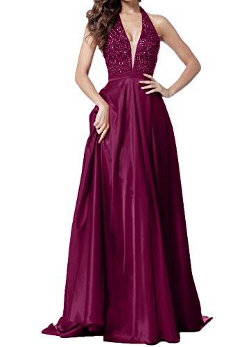 Abendkleider V Charmant Damen Rot Zahlreichen Brautmutterkleider mit Ausschnitt Steine Fuchsia Elegant Tief Ballkleider wFwRH