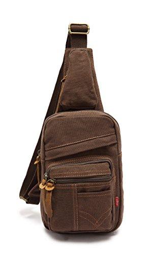 Men's Women's Canvas Crossbody Bag Shoulder Bag Chest Bag with Adjustable Strap-3 Colors (Coffee) Review