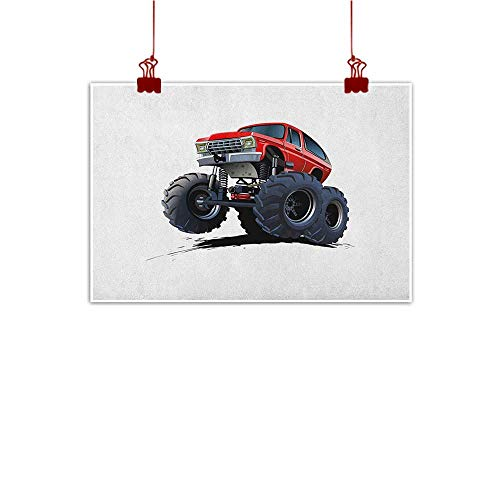 - Wall Art Painting Print Truck,Extreme Off Road Vehicle Cartoon Style Monster Truck Motorsports Illustration, Night Blue Red 20
