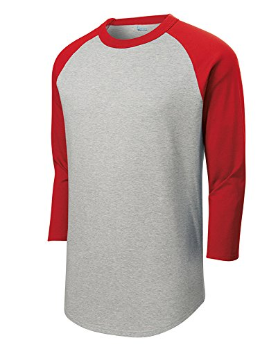 (Mens or Youth 3/4 Sleeve 100% Cotton Baseball Tee Shirts Youth S to Adult 4X HE/RED-M)