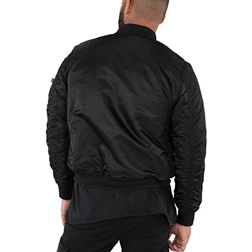 Industries NASA de MA Logo All 1 Black Alpha Hombre bombardero chaqueta VF Verde ZO4fww