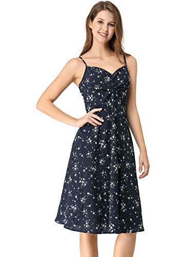 Allegra K Women's Summer Floral Twist Front Swing Knee Length Spaghetti Strap Dress XS Navy ()
