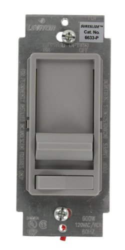 Leviton 6633-P0G SureSlide 600W Preset Incandescent Dimmer, 3-Way, Gray
