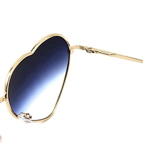 surdimensionné métal soleil de pour cœur de Cadre Lunettes W en forme Style femme bleu top en Tendance classique nRq4wqz1x