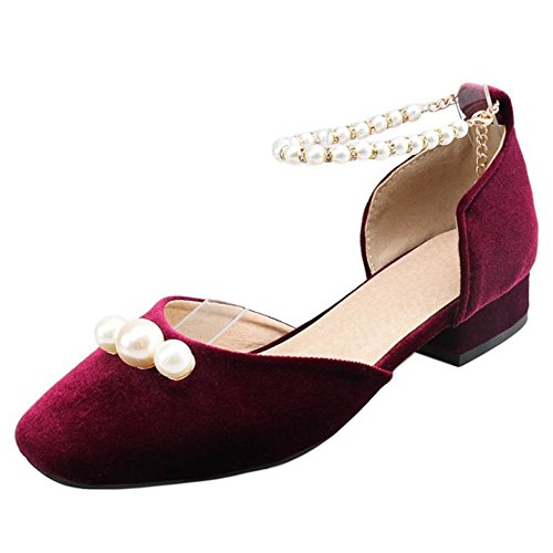 Low Spring Shoes TAOFFEN Sandals Women Claret Summer Heel 7IqqAtn5g