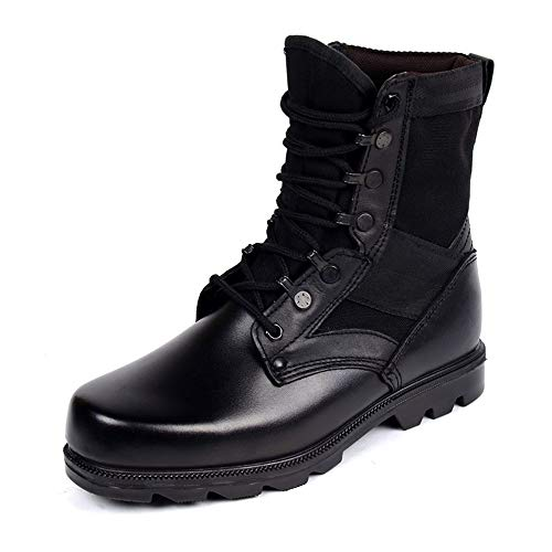 Negro Cuero Eu Botas Para Suave Zhrui 41 Genuino color Respirables Negro Tamaño De Wintern Hombres Militares Antideslizantes Suela pIngnqZO