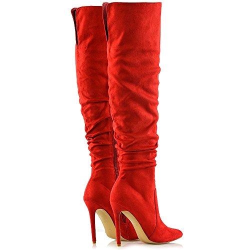 ESSEX GLAM Mujer Tacón De Aguja Rodilla Alta Señoras Puntiagudo Botas Rojo Gamuza Sintética