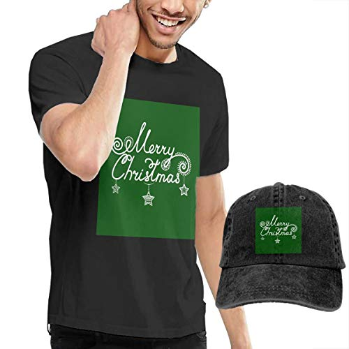 Men's Short Tee Merry Christmas Crew Neck T-Shirts and Baseball Cap Cotton Sleeve Shirts with Cowboy Peaked Hat ()