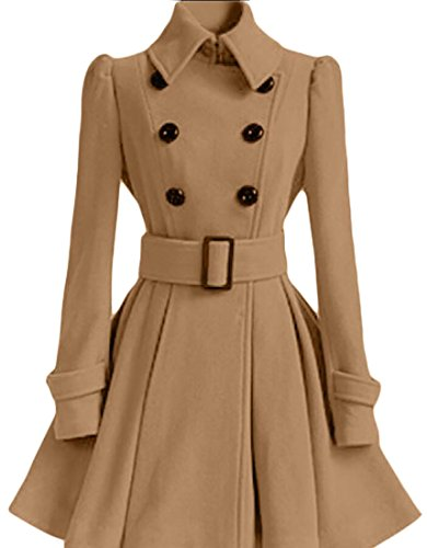 Gocgt Women Double Breasted Wool A-Line Swing Coat Overcoat Trench Jackets Khaki S A-line Cotton Trench Coat