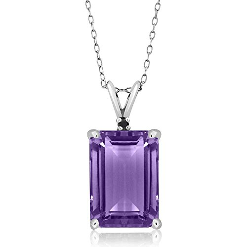 Gem Stone King 7.12 Ct Emerald Cut Amethyst and Black Diamond 925 Sterling Silver Gemstone Birthstone Pendant