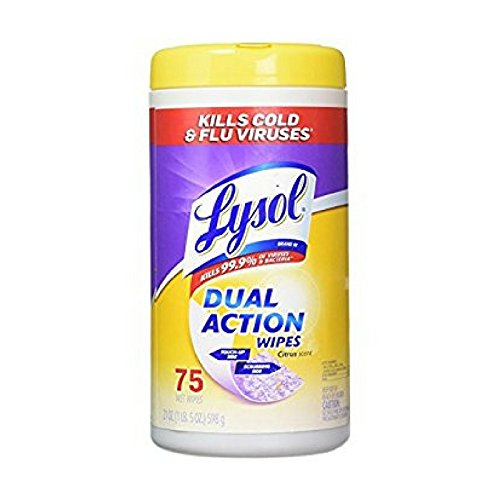 Lysol Dual Action Disinfecting Wipes w. Scrubbing Texture, 450ct (6X75ct) (Dual Action Disinfectant)