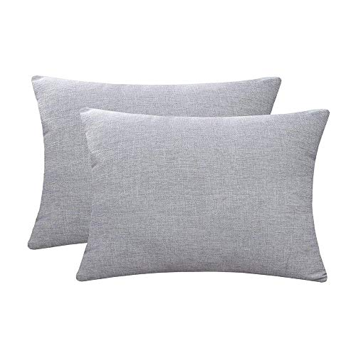 Jepeak Comfy Throw Pillow Covers Cushion Cases Pack of 2 Cotton Linen Farmhouse Modern Decorative Solid Rectangular Pillow Cases for Couch Sofa Bed (Light Grey, 16 x 24 Inches)