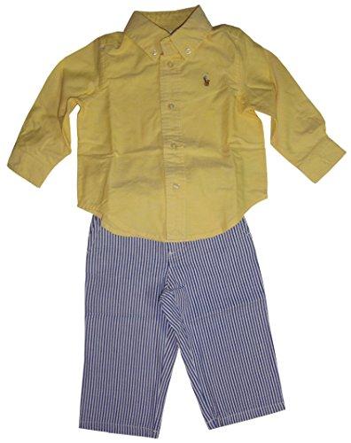 Polo Ralph Lauren Infant Boys 2 Piece Outfit Yellow Shirt & Seersucker Pants (6 Months)