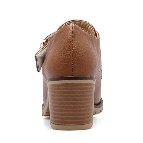 Solid high Boots PU Kitten Hook And AmoonyFashion Women's Brown Loop Ankle Heels xpBqTaO