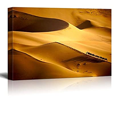 Canvas Prints Wall Art - Beautiful Scenery/Landscape Caravans in The Desert | Modern Wall Decor/Home Decoration Stretched Gallery Canvas Wrap Giclee Print & Ready to Hang - 16