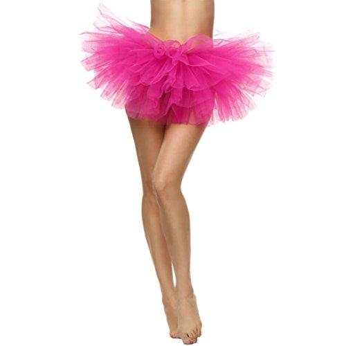 Solike Jupes Tulle Femme 9 Colores 5-Couche Organza lastique Mini Robe Transparent Jupes Filles Jupe Ballet Tutu Femmes Pliss Gauze Jupe Courte Danse Jupe Rose(vif)