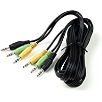 SummitLink Audio Cable 3 to 3 Minijack Color Coded for 5.1 Channel Logitech Computer Speakers