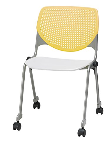 KFI Seating Poly Stack Chair with Casters and Perforated White Seat and Yellow Back