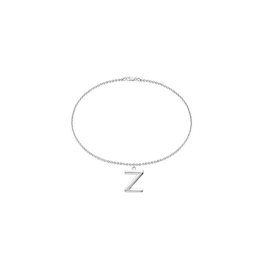 Sterling Silver Initial Z Charm Bracelet LoveBrightJewelry BRS84634AGZ
