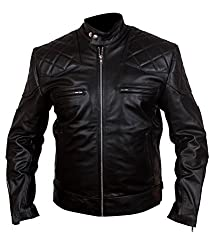Men Women David Beckham Genuine Cowhide Black Leather Jacket M