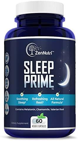 Natural Premium Sleep Aid | Herbal Stress, Anxiety & Insomnia Relief Supplement Pills | Relaxing & Calming Formula | Melatonin, Chamomile, Valerian Root - 60 Non-Habit Forming Veggie Caps