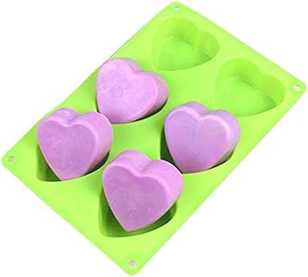 E2o Tech 6 cavidades corazón jabón molde de silicona pastel molde ...