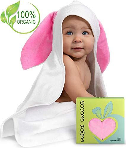 Premium Hooded Baby Towel w/Bunny Crinkle Ears - Extra Soft & Luxury Large Organic Bamboo Bath Towel - Newborn, Infant, Toddler - Hypoallergenic, Super Absorbent | Baby Shower Gift by ShmidtS