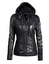 yulinge Womens Hooded Fake Two Piece Biker Faux Leather Jacket Plus Size