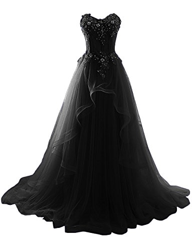 ZVOCY Women's Formal Evening Dresses Tulle Lace Appliques Prom Dress for Women Black 18