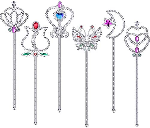 Skylety 12 Pieces Fairy Metallic Magic Dress-up Wand Princess Wands for Halloween Birthdays Party Princess Costume Role Play