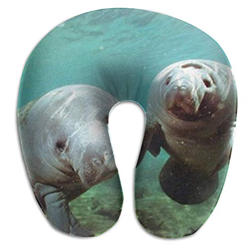 CHJOO Neck Pillow,Pair of Manatee Doug Perrine Ocean Animal Comfortable Travel Pillow, for Travel, Home, Neck Pain, and Many More with The Comfort Support Pillows