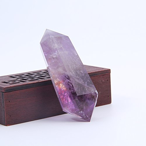 Hongjintian Natural Rock Amethyst Reiki Healing Quartz Crystal Points / Column (Amethyst, 3.151inch)