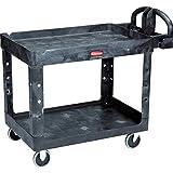 Rubbermaid FG452088BLA Commercial Heavy-Duty 2 Shelf Utility Cart, Lipped Shelves, Medium, Black, 500 Pound Capacity